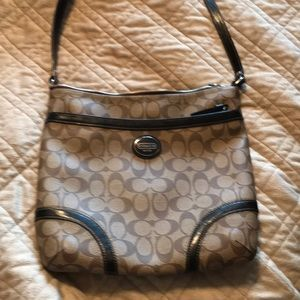 Brown/Tan Leather Coach Large brown crossbody bag
